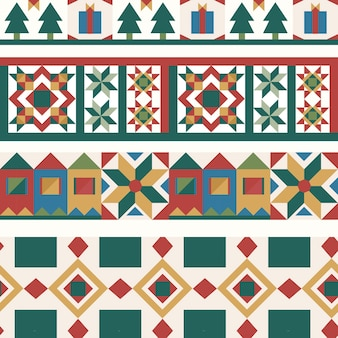 Colorful christmas tiles geometrical seamless pattern