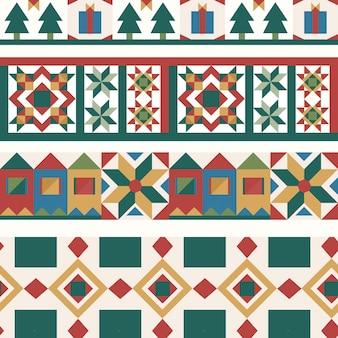 カラフルなクリスマスタイルの幾何学的なシームレスパターン