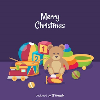 Colorful christmas toys background