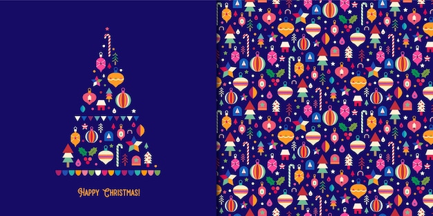Colorful christmas tree card with ornaments seamless pattern