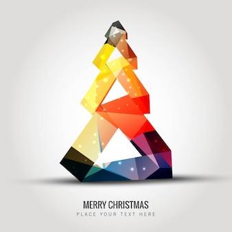 多角形のスタイルでカラフルなクリスマスツリー