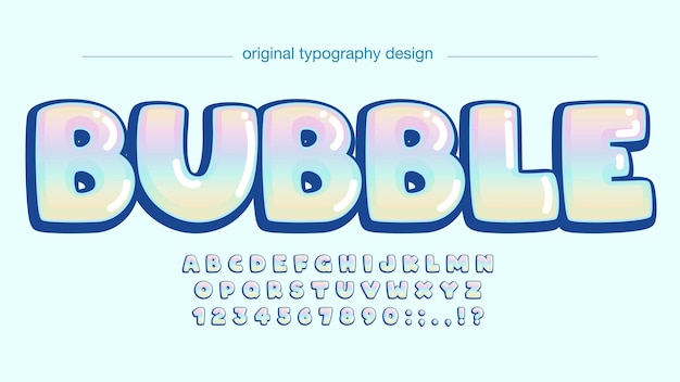 Colorful chromatic rounded cartoon typography