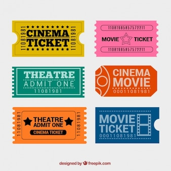 Colorful cinema tickets with great designs