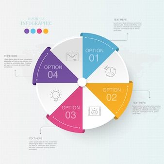 Colorful circle 4 process infographics for business concept.