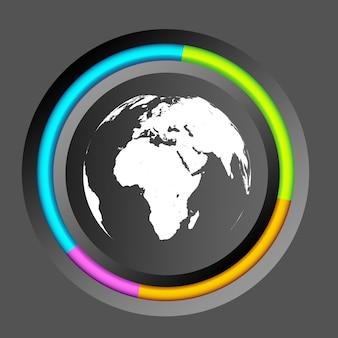 カラフルな円と世界地図