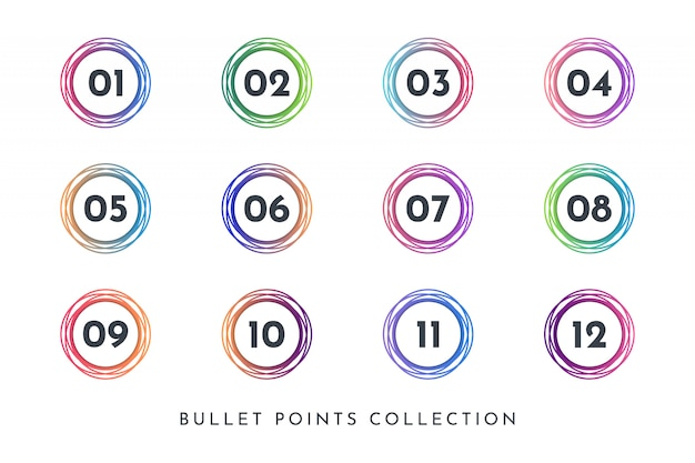 Colorful circle bullet point number collection set 1 to 12