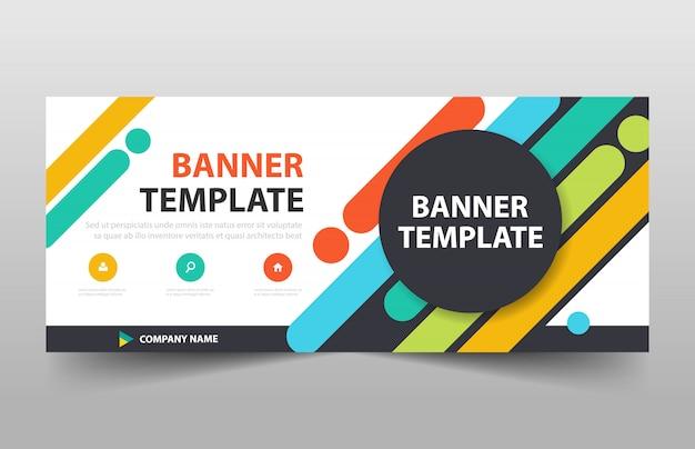 다채로운 원 비즈니스 배너 디자인 서식 파일