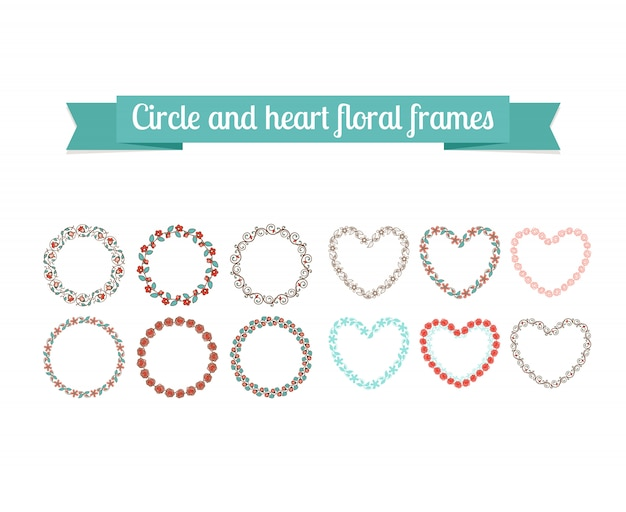 Colorful circle and heart floral frames