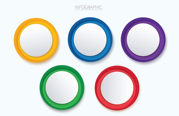 Colorful circle infographic vector template with 5 options