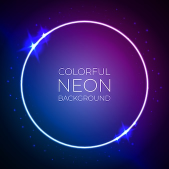 Colorful circle neon light banner