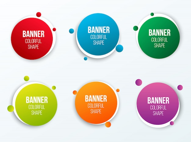 Colorful circle text boxes shape, round banners.