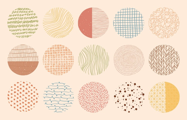 Colorful circle textures made with ink, pencil, brush. geometric doodle shapes of spots, dots, strokes, stripes, lines. set of hand drawn patterns.