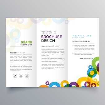 Colorful circles business tri fold brochure vector design template