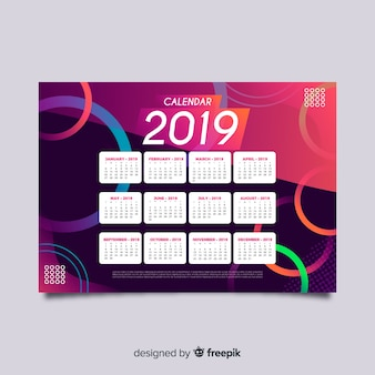 Colorful circles calendar template