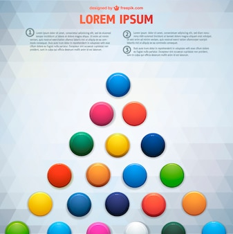 Colorful circles over grey triangles background