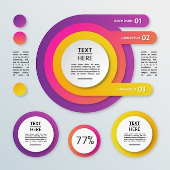 Colorful circular infographics with percentages