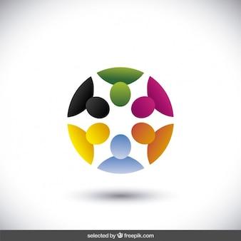 Colorato logo circolare con avatar in 3d