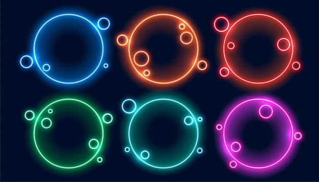 Colorful circular neon frames set of six