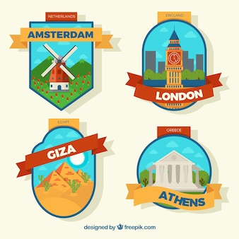 Colorful city badges