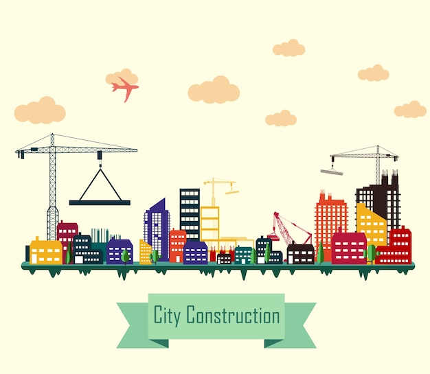 Colorful city construction site flat design
