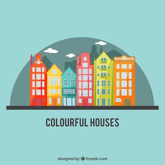 Colorful city houses