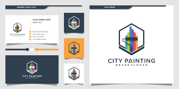 Colorful city painting logo design inspiration and business card premium vector