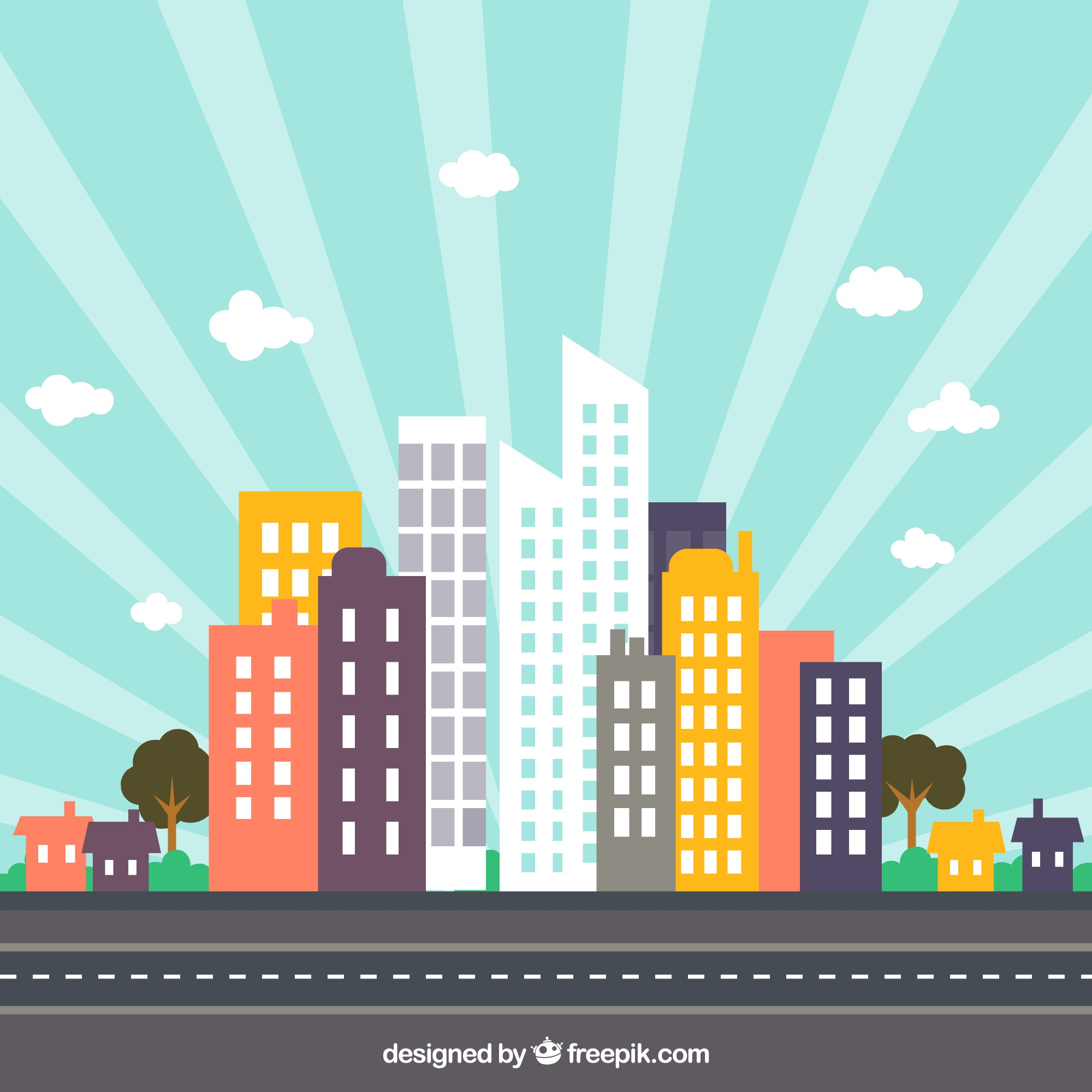 Colorful city skyline with sunburst