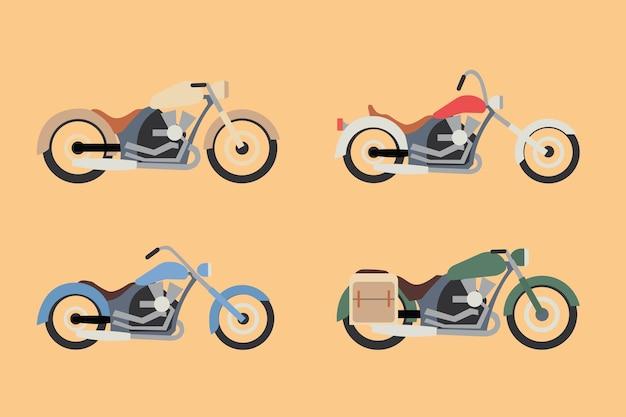 다용도에 적합한 다채로운 클래식 오토바이 세트 프리미엄 벡터