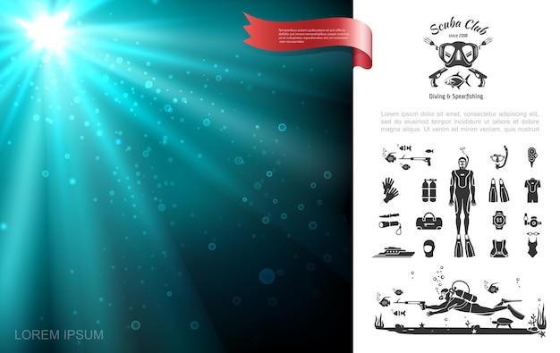 Concetto di paesaggio di mare subacqueo pulito colorato con accessori ed elementi di immersione con bombole neri, illustrazione