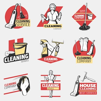 Colorful cleaning company logotypes