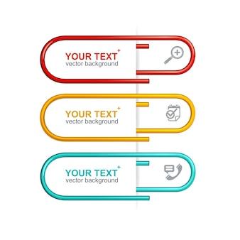 흰색 배경에 고립 된 다채로운 클립 옵션 배너는 프레 젠 테이 션에 사용할 수 있습니다.