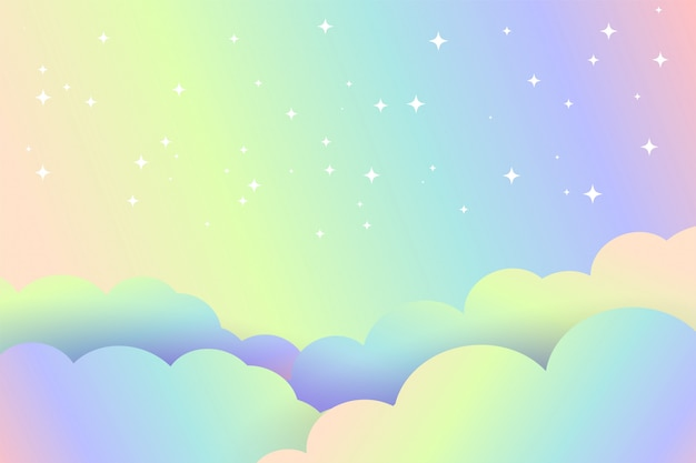Colorful clouds background with stars magical design