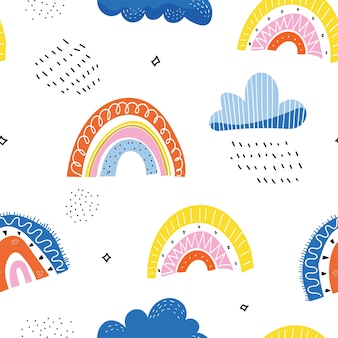 Colorful clouds seamless pattern