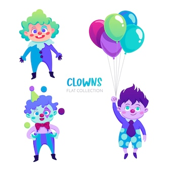 Colorful clowns characters
