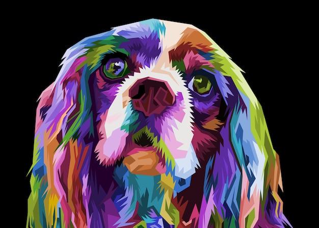 ポップなアートスタイルに分離されたカラフルなコッカースパニエル犬。図。