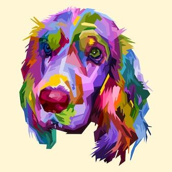 ポップアートスタイルで分離されたカラフルなコッカースパニエル犬。