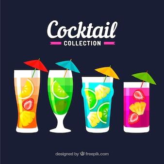 Красочная коллекция коктейлей с плоским дизайном