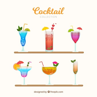 Colorful cocktail collection with flat design