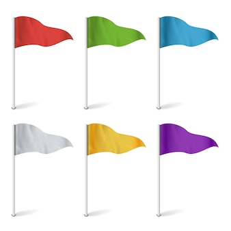 Colorful cocktail flags. set multi colored pins illustration.