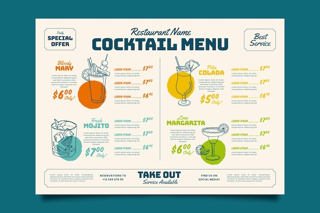Colorful cocktail menu template