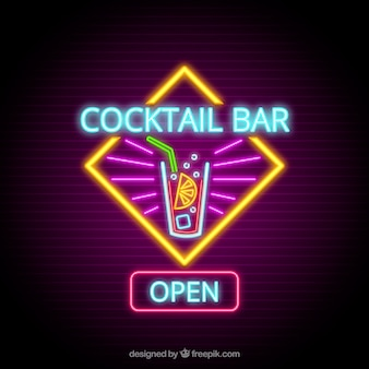 Colorful cocktail neon sign