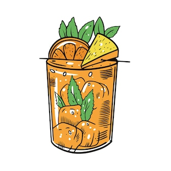 Colorful cocktail with orange, mint, ice cube and pineapple. hand draw sketch . design for alcohol bar.