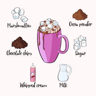 Colorful cocoa drink recipe