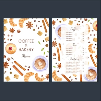 Colorful coffee and bakery menu design illustration