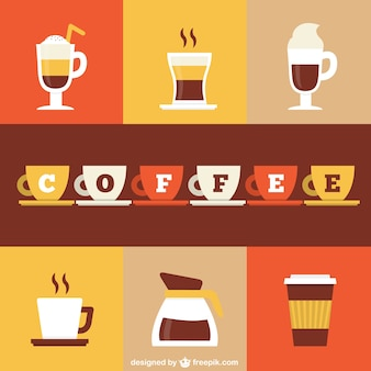 Colorful coffee icons