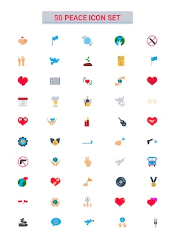 Colorful collection of 50 peace icon set in flat style.