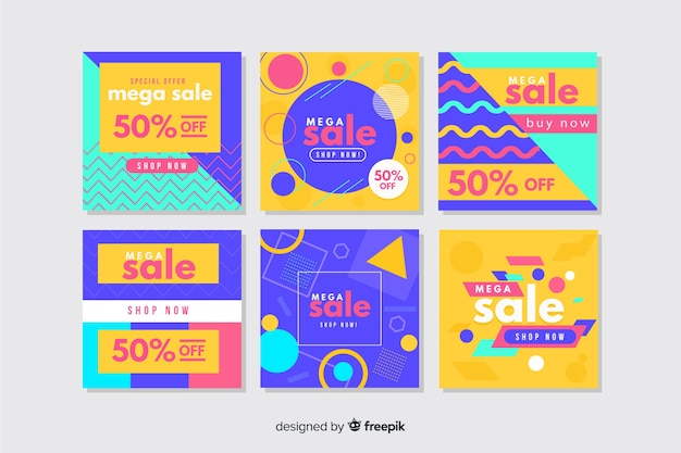 Colorful collection of abstract instagram banners