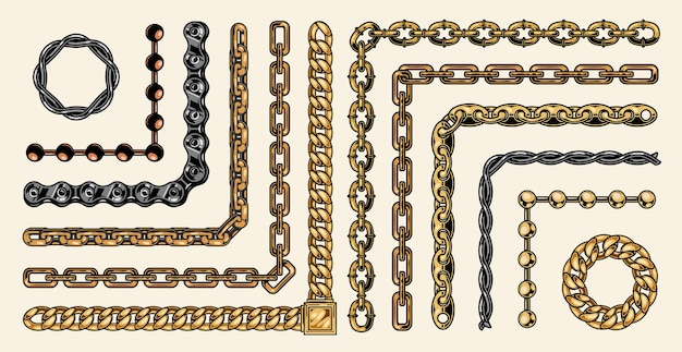 Colorful collection of chain pattern brushes of different structures in style isolated