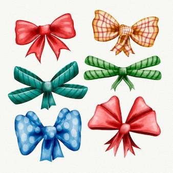 Collezione colorata di nastri natalizi