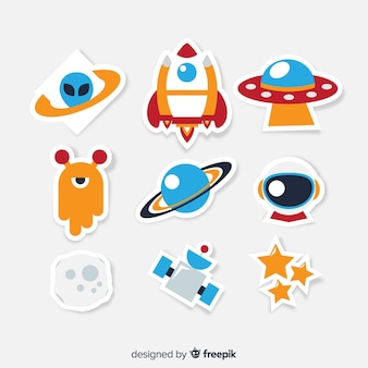 Colorful collection of modern space stickers